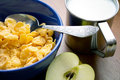 Corn flakes with milk and an apple Royalty Free Stock Photos