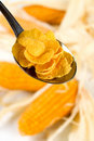 Corn flakes in a spoon Royalty Free Stock Photography