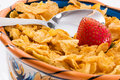 Corn Flakes and Strawberries - Close up Stock Photo