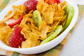 Corn Flakes with Strawberries and Kiwi Fruit Stock Photos