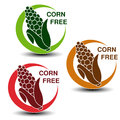 Corn free symbols on white background. Silhouettes maize in a circle with shadow.