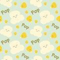 Corn grain and popcorn cute cartoon seamless pattern background illustration Royalty Free Stock Photo