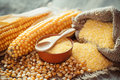 Corn groats and dry seeds, corncobs on table. Royalty Free Stock Photo