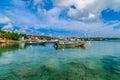 Corn island Nicaragua. sea with boats and blue sky Royalty Free Stock Photo