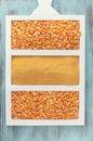 Corn kernels and cornmeal Royalty Free Stock Photo