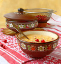 Corn porridge (banish) with a cranberry Royalty Free Stock Images