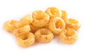 Corn rings on white background Royalty Free Stock Photo