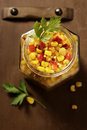 Corn salsa in a jar Royalty Free Stock Photo