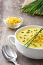 Corn soup in white bowl Royalty Free Stock Photo