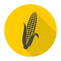 Corn symbol icon with long shadow