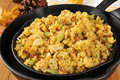 Cornbread stuffing with chunks of turkey in cast iron skillets Royalty Free Stock Images
