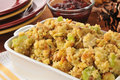 Cornbread stuffing closeup of a baking dish of with celery and turkey bits Royalty Free Stock Photos