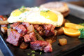 Corned beef hash with eggs Royalty Free Stock Photo