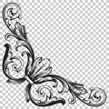 Corner baroque ornament decoration element. Royalty Free Stock Photo