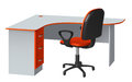 Corner computer desk with cable hole and office chair, orange and gray