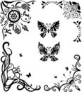 Corner doodle graseful set with butterflies Stock Photography