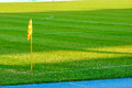 Corner flag on a soccer field image of Stock Images
