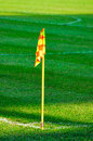 Corner flag on a soccer field image of Royalty Free Stock Photography