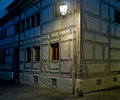 Corner of a half timber house at night constance germany Stock Photos