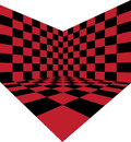 Corner of red checkered room Royalty Free Stock Image