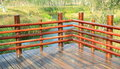 Corner of wooden deck wood terrace with wood balustrade empty and floor in park Royalty Free Stock Photography