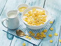 Cornflakes cereal and milk. Royalty Free Stock Photo