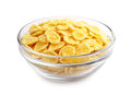 Cornflakes in the cup transparent on a white background Stock Photos