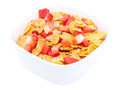 Cornflakes with fresh Strawberries Stock Photos