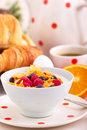 Cornflakes and fruit curd Royalty Free Stock Photo