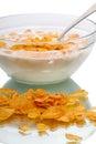 Cornflakes with milk isolated on white background Stock Photo