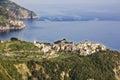 Corniglia cinque terre view of the and manarola italy Royalty Free Stock Photography