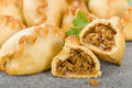 Cornish pasty baked filled with meat and potatoes Royalty Free Stock Photos