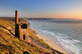 Cornish tin mine st agnes head cornwall pumping engine house at wheal cotes on the coast near in late evening Royalty Free Stock Photography