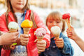 5 corns of colorful ice cream Royalty Free Stock Photo