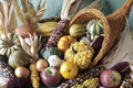 Cornucopia of fall decorative fruits Royalty Free Stock Photo