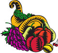 Cornucopia Fruit Harvest Woodcut Royalty Free Stock Photo