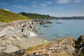 Cornwall coast towards looe england cornish at fishing port on a sunny day Stock Images