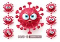 Corona virus covid19 emoji vector set. Covid19 corona virus emojis and emoticons