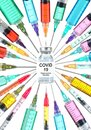 Corona virus cure concept. Covid 19, Coronavirus vaccine drug vial surrounded by colorful syringes with needles pointed towards Royalty Free Stock Photo