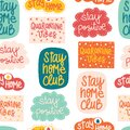 Coronavirus Covid-19 lettering stickers seamless vector pattern. Stay home club, Stay positive, quarantine vibes