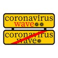 Coronavirus end first wave and begin second wave. Warning in a rectangular sign about coronavirus. Epidemic and pandemic symbol. Royalty Free Stock Photo