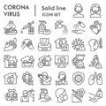 Coronavirus line icon set, Covid-19 symbols set collection or vector sketches. 2019-ncov prevention signs set for