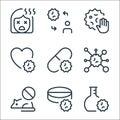 coronavirus line icons. linear set. quality vector line set such as flask, meds, mouse, coronavirus, antivirus, heart, stop, Royalty Free Stock Photo
