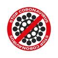 Coronavirus, ncov, covid - 19 logo. Warning sign. Virus cartoon icon with simple inscription and red stop symbol