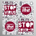 Coronovirus infection COVID-19 alert poster. 20th century pandemic,transmitted by airborne droplets