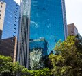 Corporate buildings on Avenida Paulista with their glass cladding making a beautiful reflection Royalty Free Stock Photo