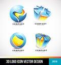 Corporate business sphere pie chart 3d logo