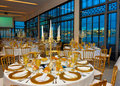 Corporate Event Tables Golden Decoration, Dinner Party with Ocean view, Lecture Banquet