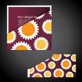 Corporate folder with die cut design colorful sunflowers in freely scalable editable vector format Royalty Free Stock Photos