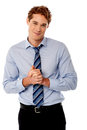Corporate guy posing with clasped hands stylish businessman Stock Photography